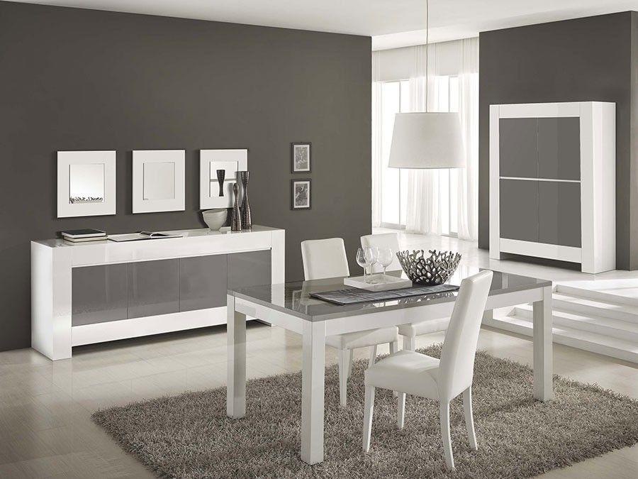 Salle à manger complète gris et blanc laqué design TOTTI 2 | Salle ...