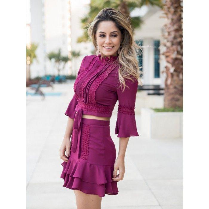 a237cb818 Lojas Karol - Moda Feminina Conjunto renda guipir crepe Perla ...