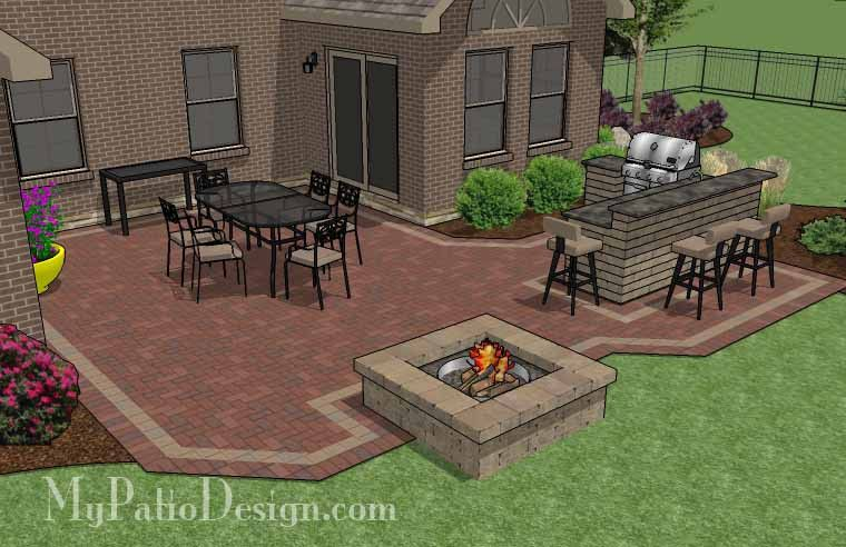 505 Sq Ft Large Courtyard Brick Patio Design With Outdoor Kitchen And Fire Pit Patio Design Outdoor Patio Designs Brick Patios