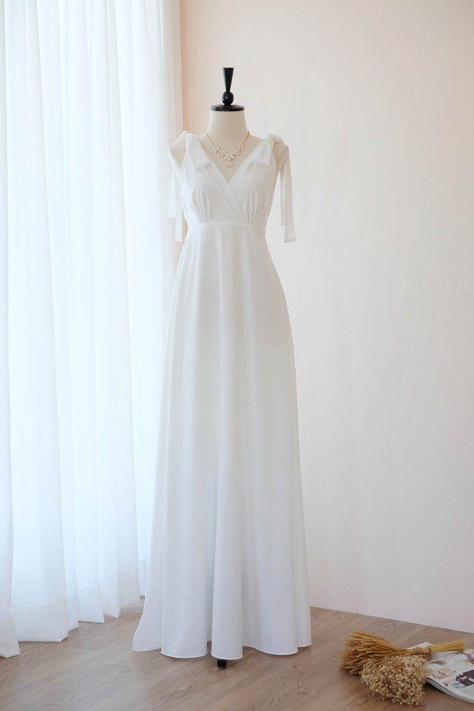 bc1c6c472de3 White dress White Long bridesmaid dress Wedding dress Bridal dress Floor  length dress