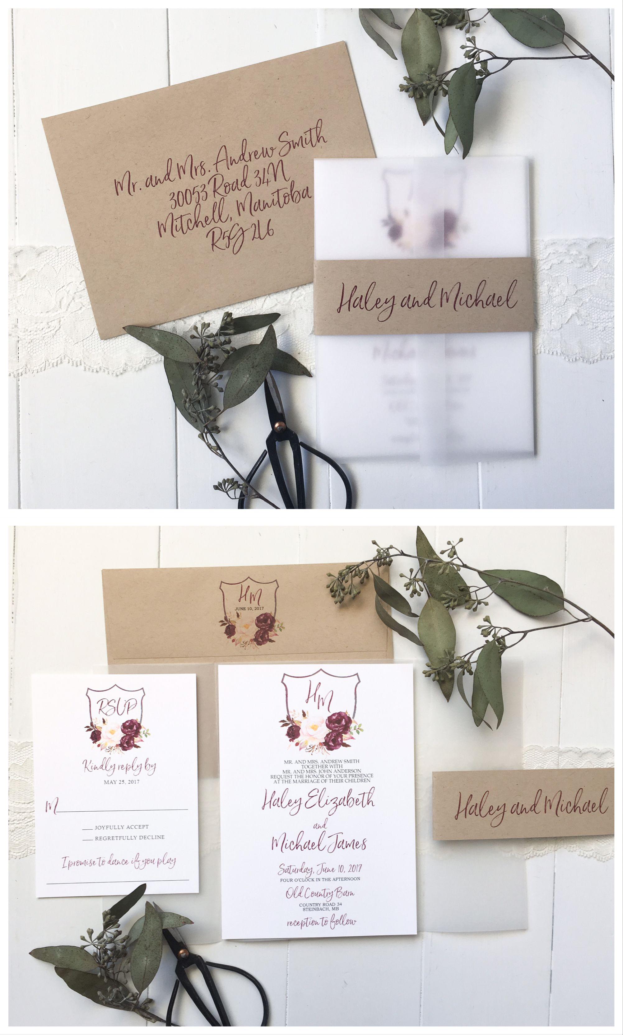 Marsala Floral Wedding Invitation | Burgundy wedding, Floral ...