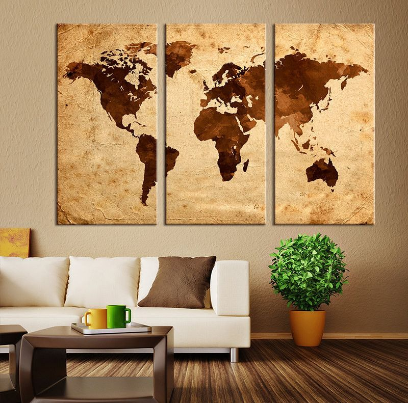 Large Art Canvas Print - Brawn Retro Watercolor World Map on Old ...