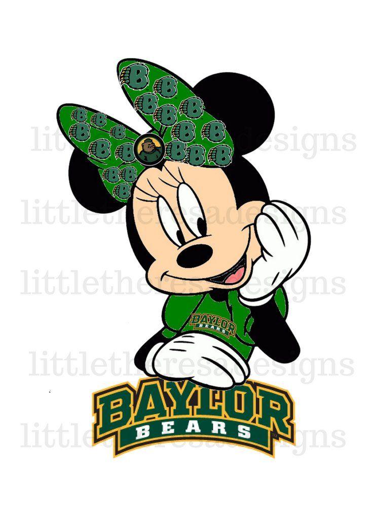 Minnie Mouse School Team(any team name) Baylor Bears Light Digital Transfers