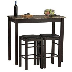 Tables with Stools in Espresso Brown, More Info Here: http://bacheloronabudget.com/kitchen/furniture/kitchen-seating/kitchen-table-stools-espresso-brown/