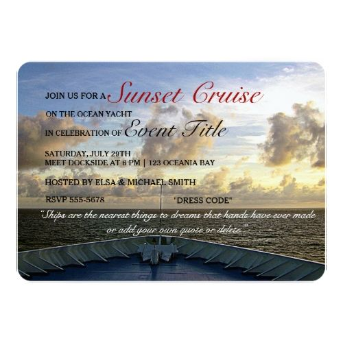 Do Your Own Wedding Invitations: Cruise Ship Yacht Boat Sunset Party Custom Invites