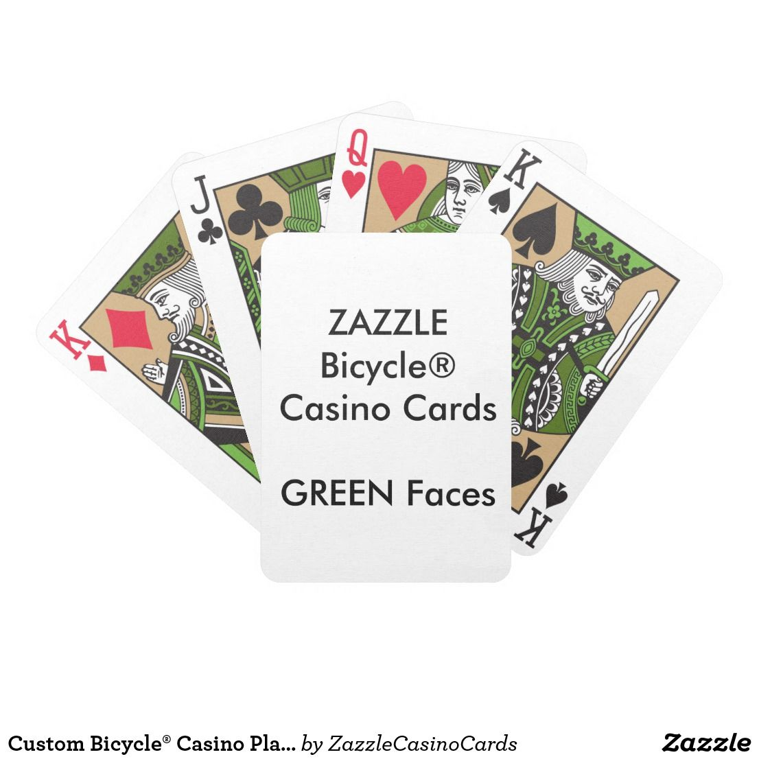 Custom bicycle casino playing cards green faces zazzle