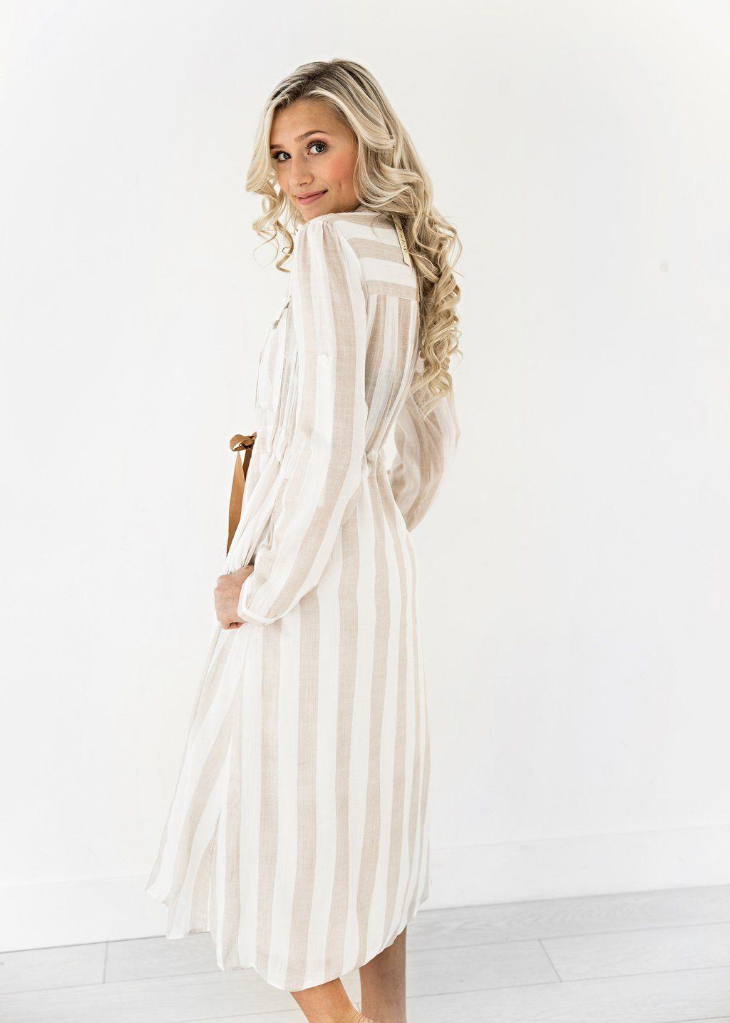 Picnic Striped Dress Jessakae New Arrivals Striped Dress Pocket Detail Womens Fashion Womens Style Tan White Beau Dresses Striped Dress Dreamy Dress [ 1434 x 1024 Pixel ]