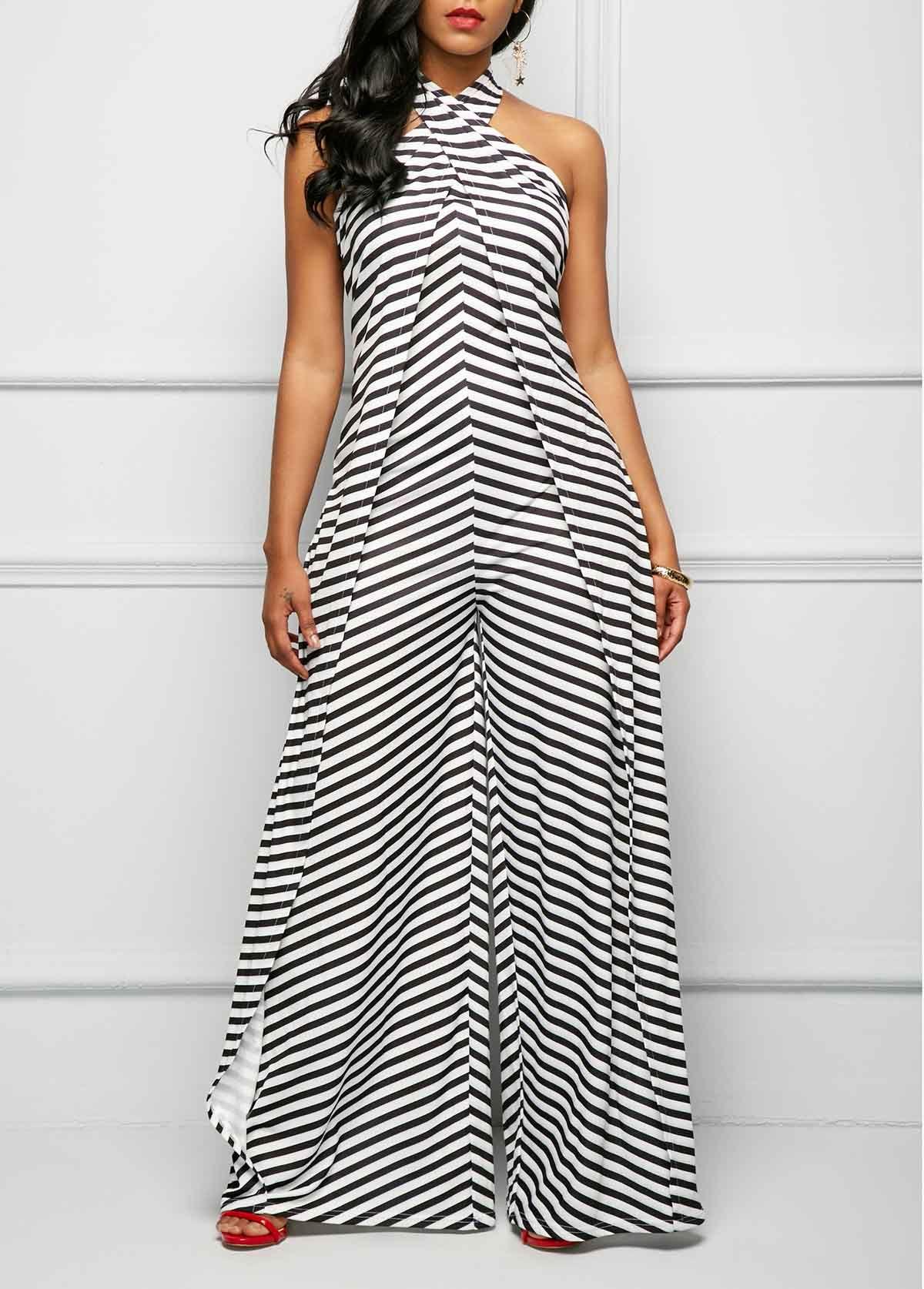 Halter Neck Stripe Print Cross Front Jumpsuit Rosewe Com Usd 36 23 Macacao Feminino Longo Vestidos Roupas Chique
