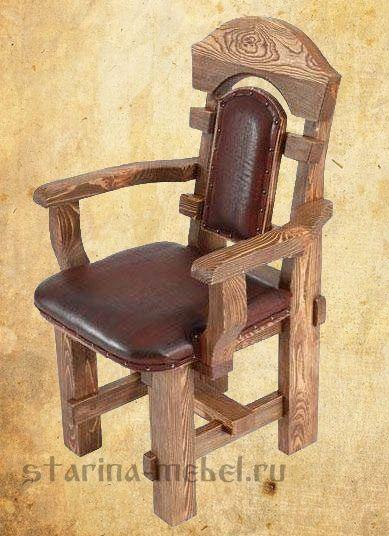 Деревянные кресла и диваны под старину из массива на заказ в