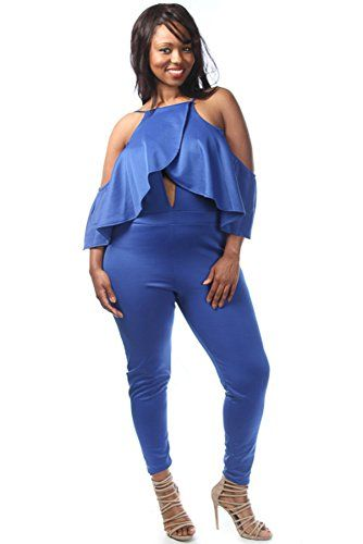 Plus Size Front Peep Hole Ruffle Detail Jumpsuit 1x Royal You