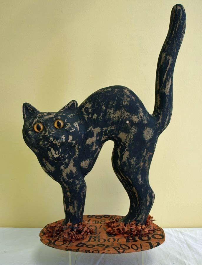 Vintage Halloween Black Cat Paper Mache Decoration eBay - halloween decorations black cat