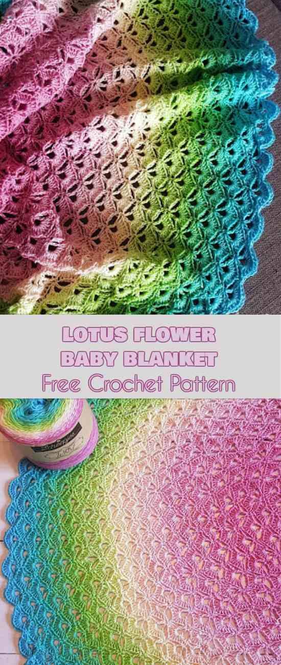 Lotus Flower Baby Blanket Free Pattern | Babydecke muster, Häkeln ...