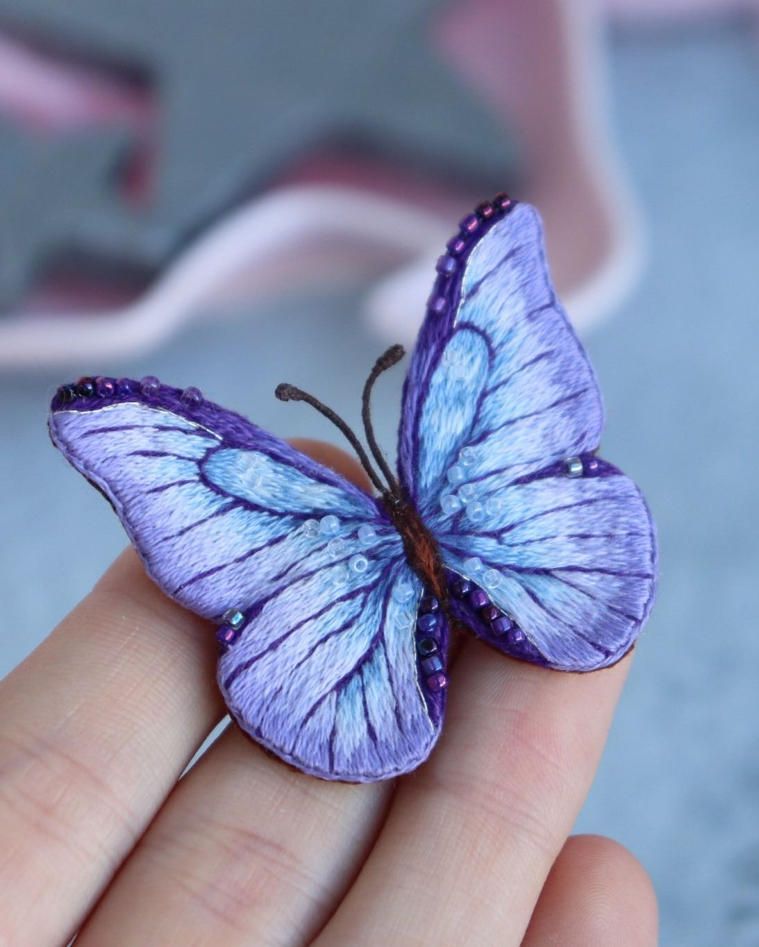 Butterfly pin embroidery brooch