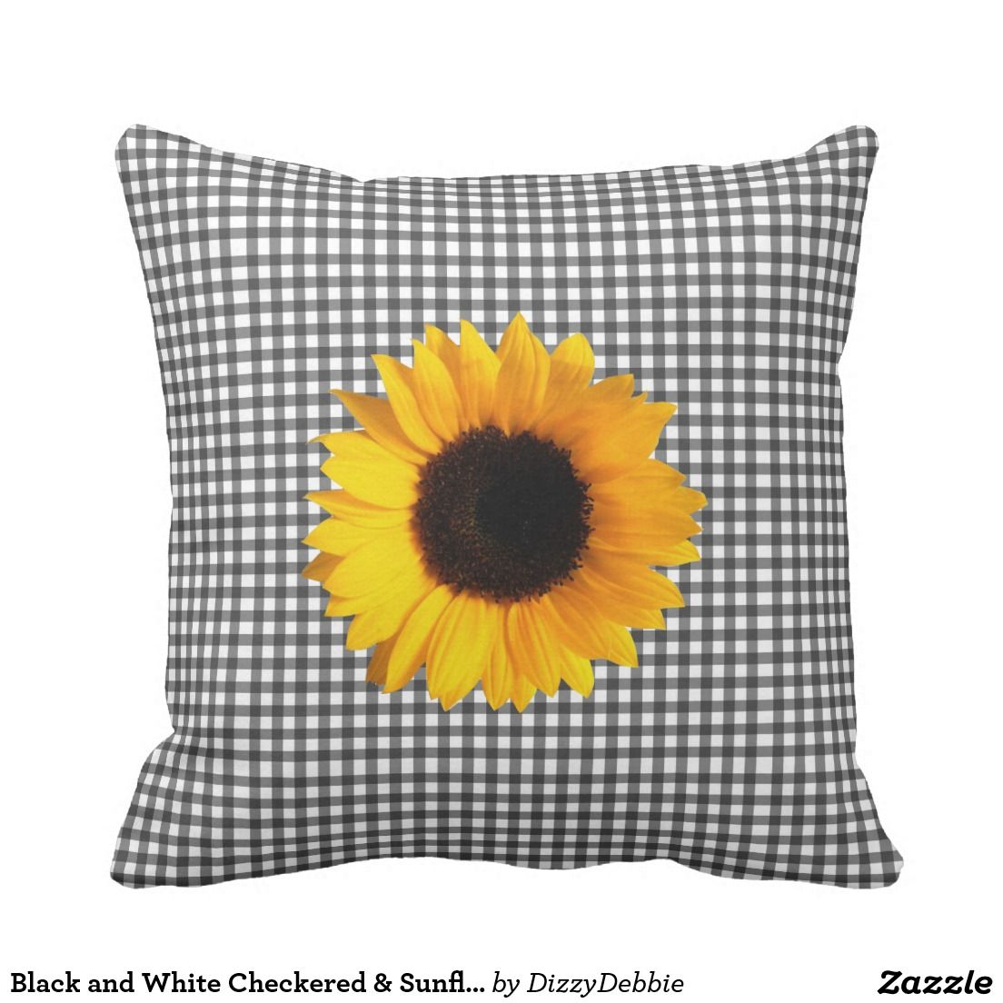 Black And White Checkered Sunflower Throw Pillow Sunflowers