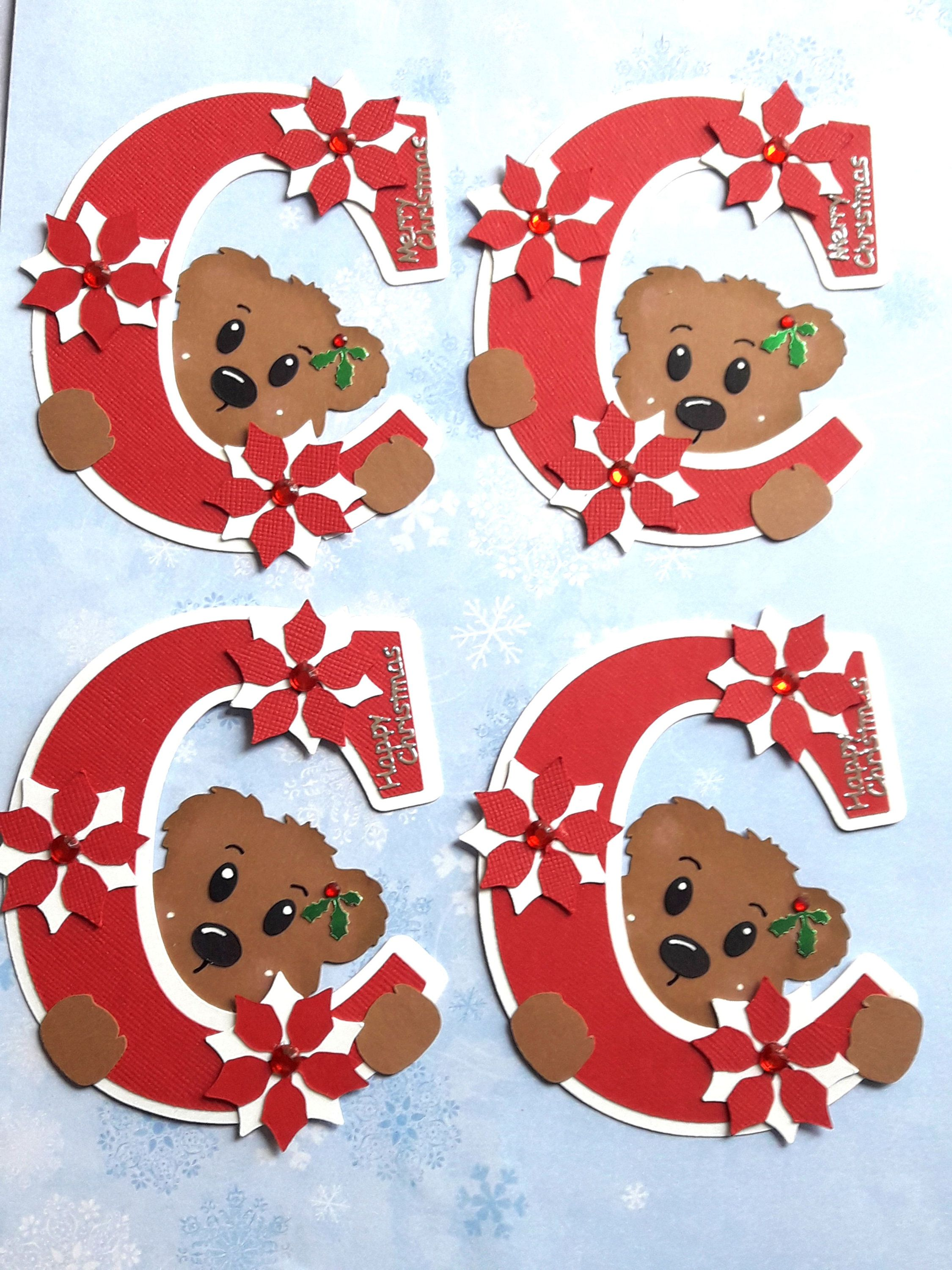 4 Christmas Card Embellishments C is for Christmas cute