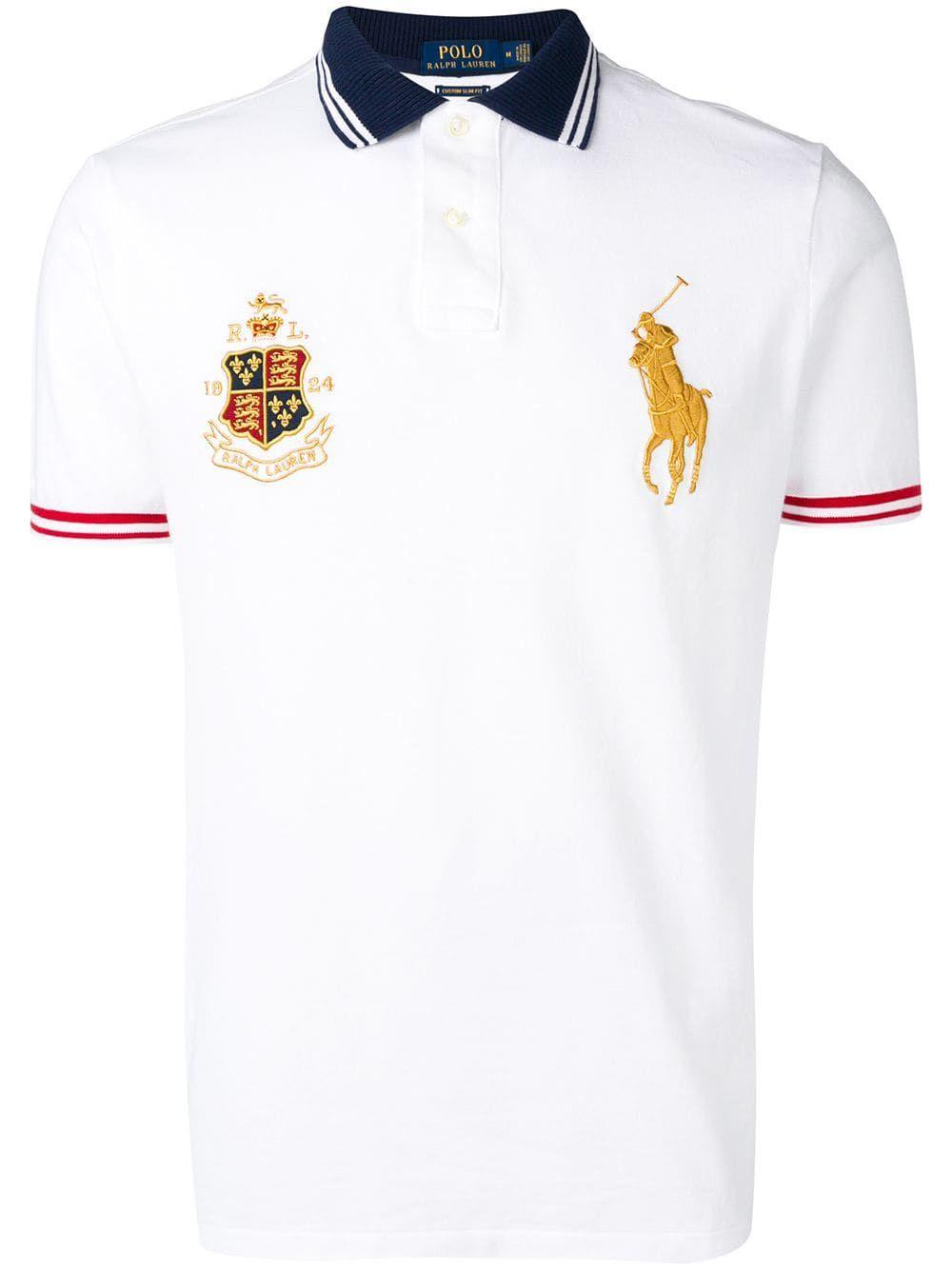 Ralph Lauren Blue Slim Fit Blouse Shirt RL Equestrian Crest NWT