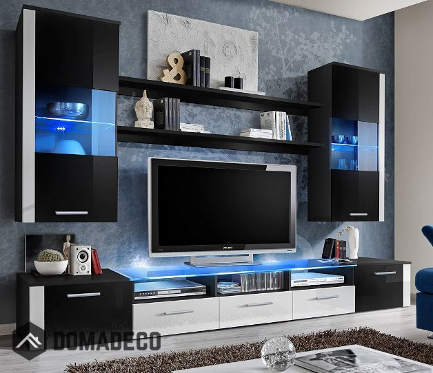 Lumia 2 - Black / white high gloss entertainment center in 2018