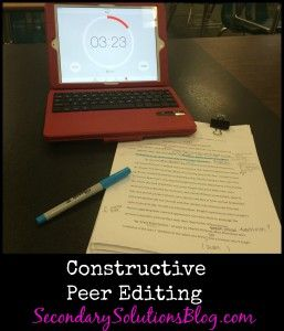 Constructive Peer Editing Free Handout Included Secondary Solutions Writing Classes Peer Editing Middle School Writing