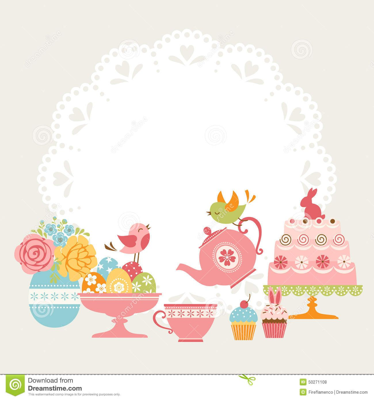 tea borders free clip art | Cute Easter tea party invitation with ...