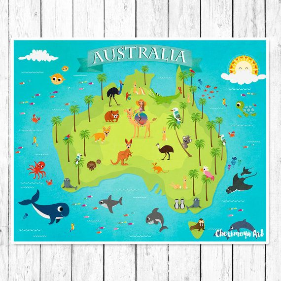 Australia animal map kids maps map of australia kids wall maps australia animal map kids maps map of australia kids wall maps childrens world map baby gift nursery map nursery wall print poster girl art gumiabroncs Image collections