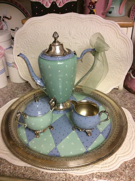 Its inventory reduction time.check out my shop for more sale items. This is a vintage silver plated tea set that I have custom painted. & Its inventory reduction time...check out my shop for more sale items ...