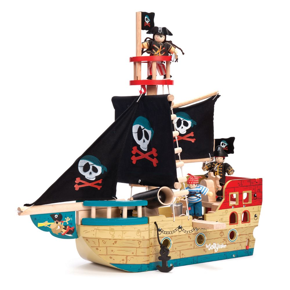 holz kinderspielzeug piratenschiff bunt 50cm toy xmas. Black Bedroom Furniture Sets. Home Design Ideas
