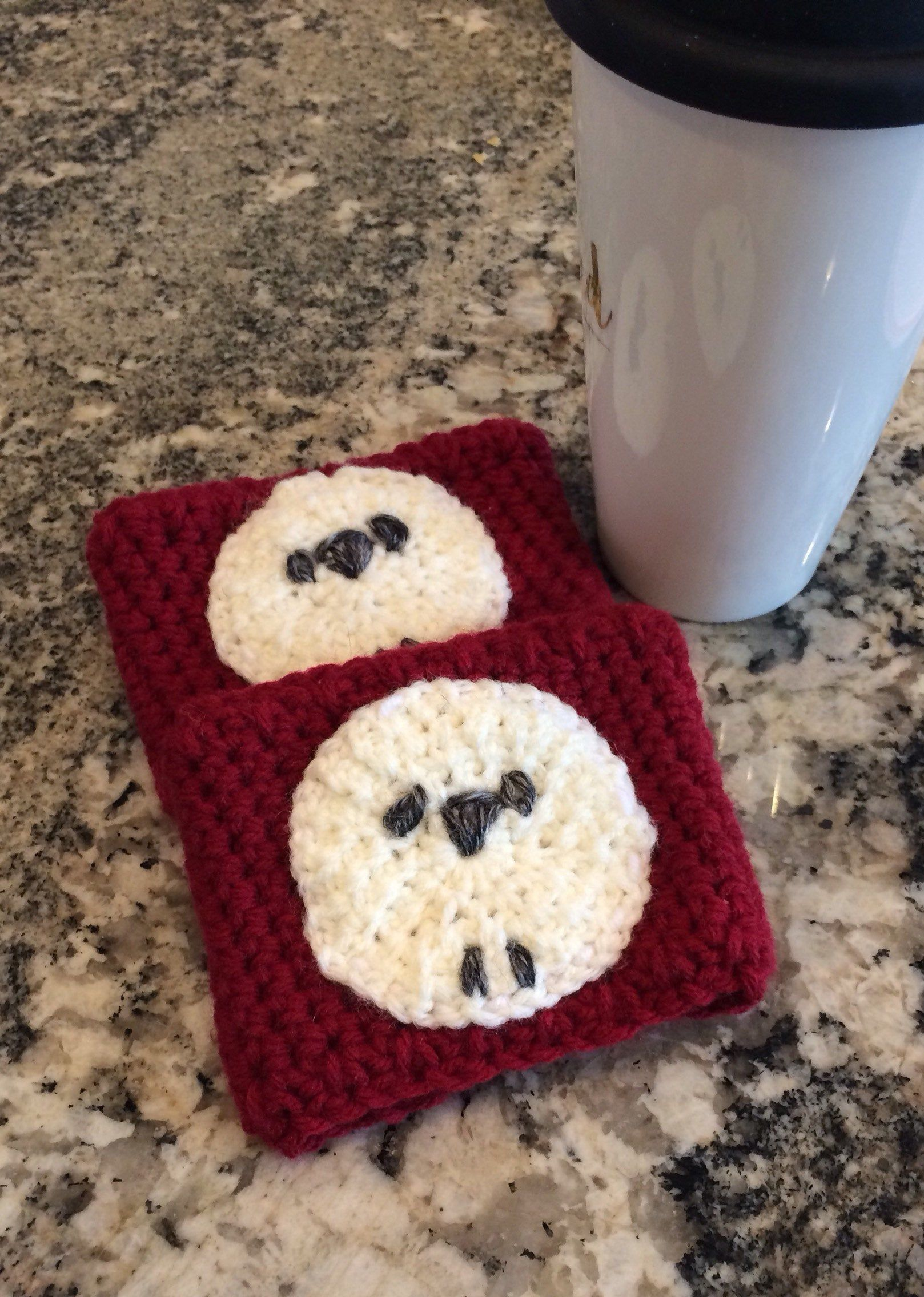 Coffee Cozy (Set of 2) Red with Sheep Design. Coffee Cup