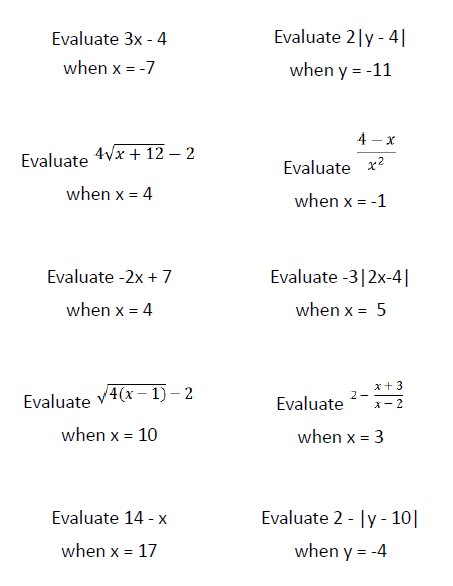 Updated Evaluating Expressions Question Stack with More Difficult ...