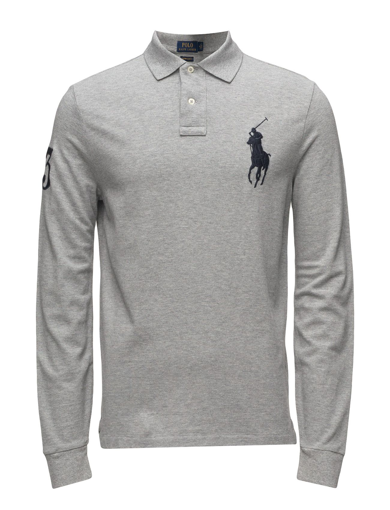 768da25acb72 polo ralph lauren custom slim fit cotton mesh polo andover heather men tops  shirts long-sleeved