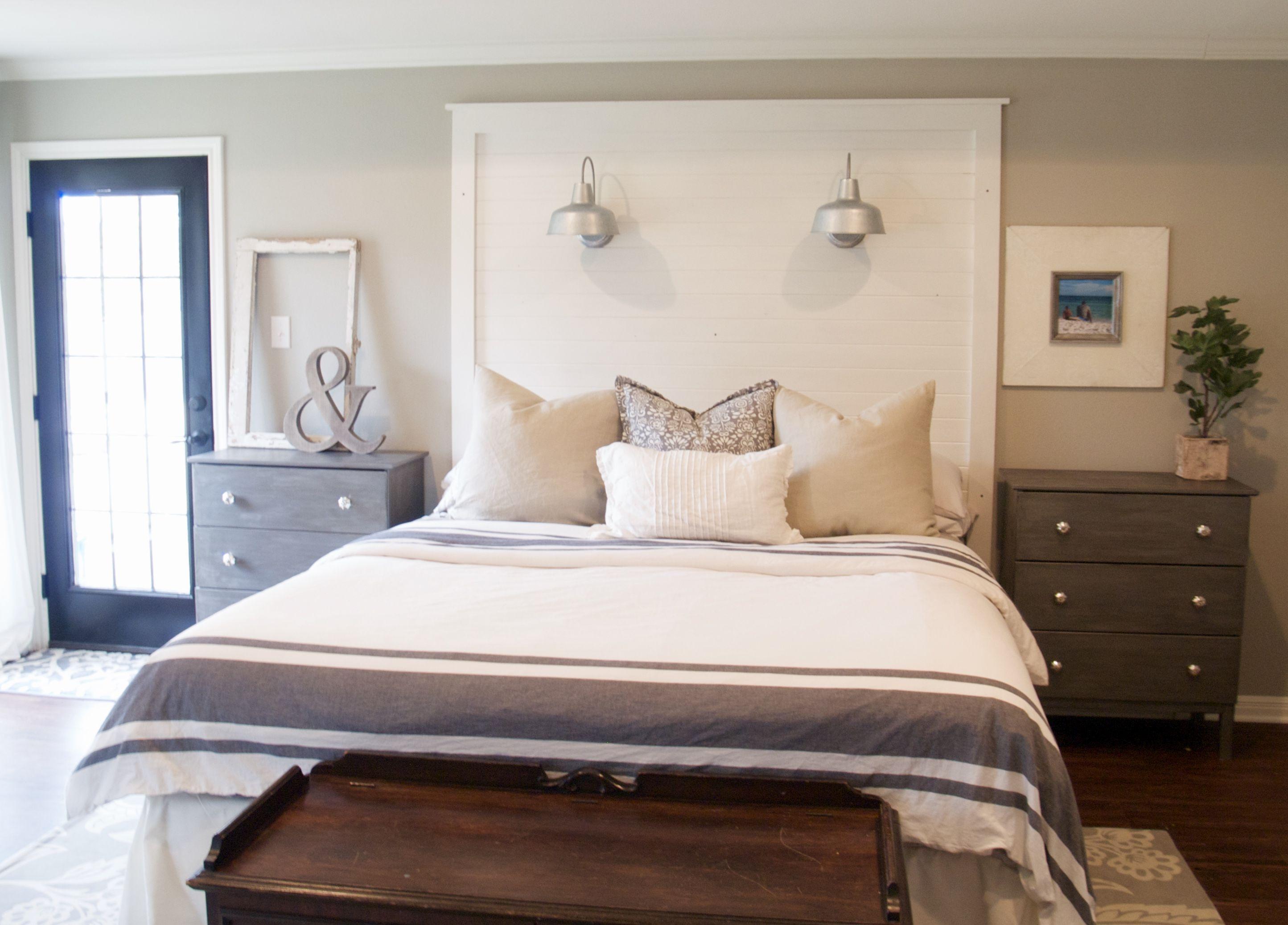Behind The Scenes Of A Fixer Upper Shiplap Headboard Bedroom