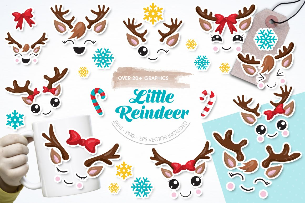 Cute reindeer face cliparts Have fun creating with these