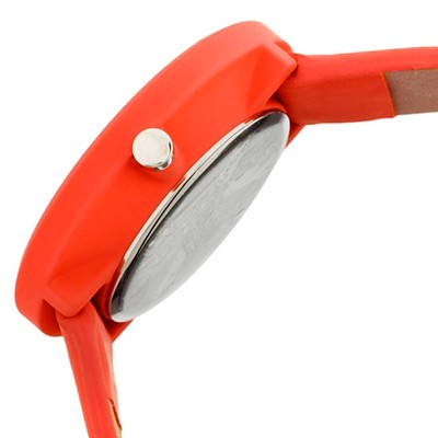 Women's Crayo Easy Leather Strap Watch-Red, red