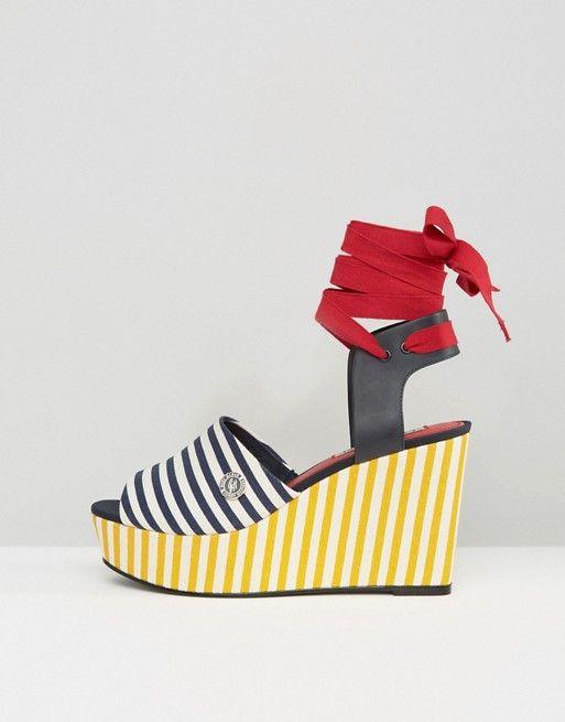 Tommy Hilfiger striped wedge sandals authentic RuatjFkd