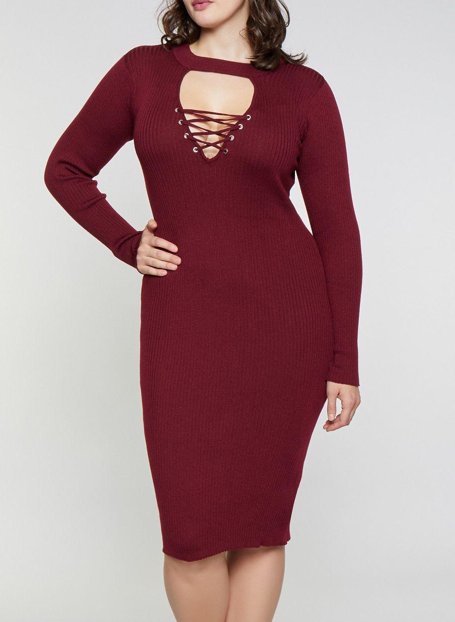 3eb579d2dde Plus Size Lace Up Keyhole Sweater Dress - Burgundy - Size 2X ...