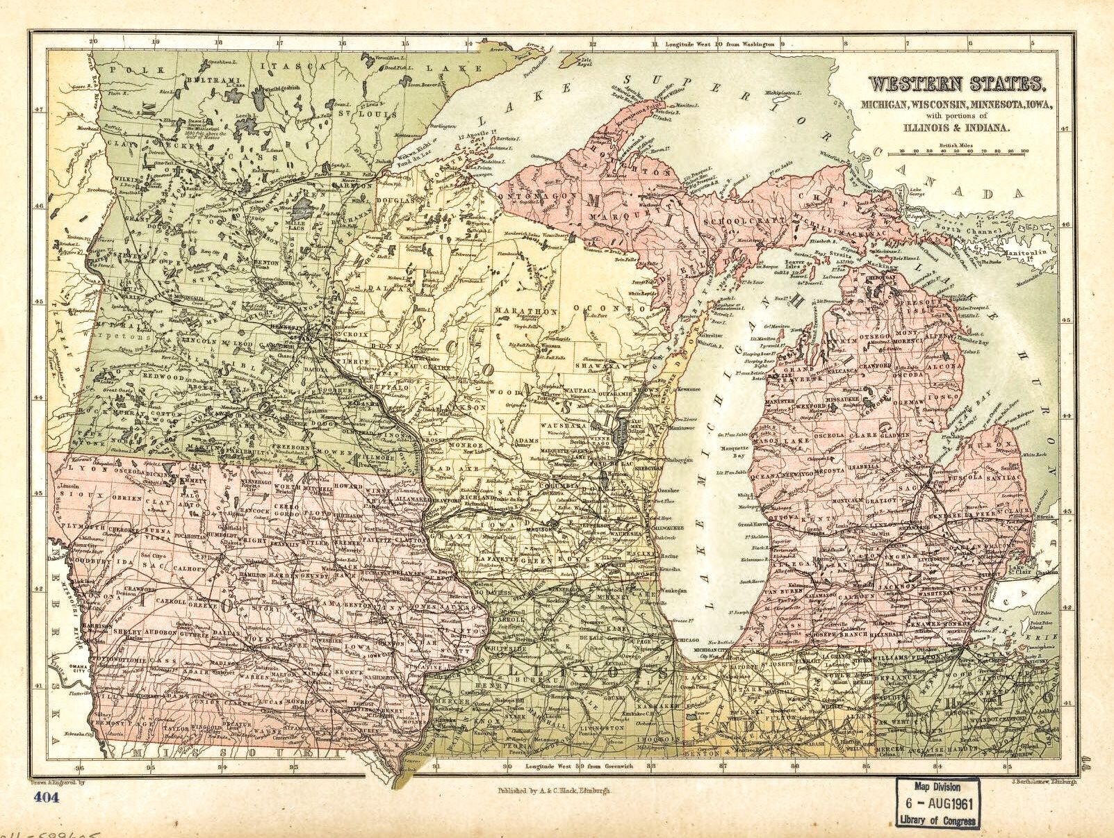 map of michigan wisconsin minnesota iowa with portions of