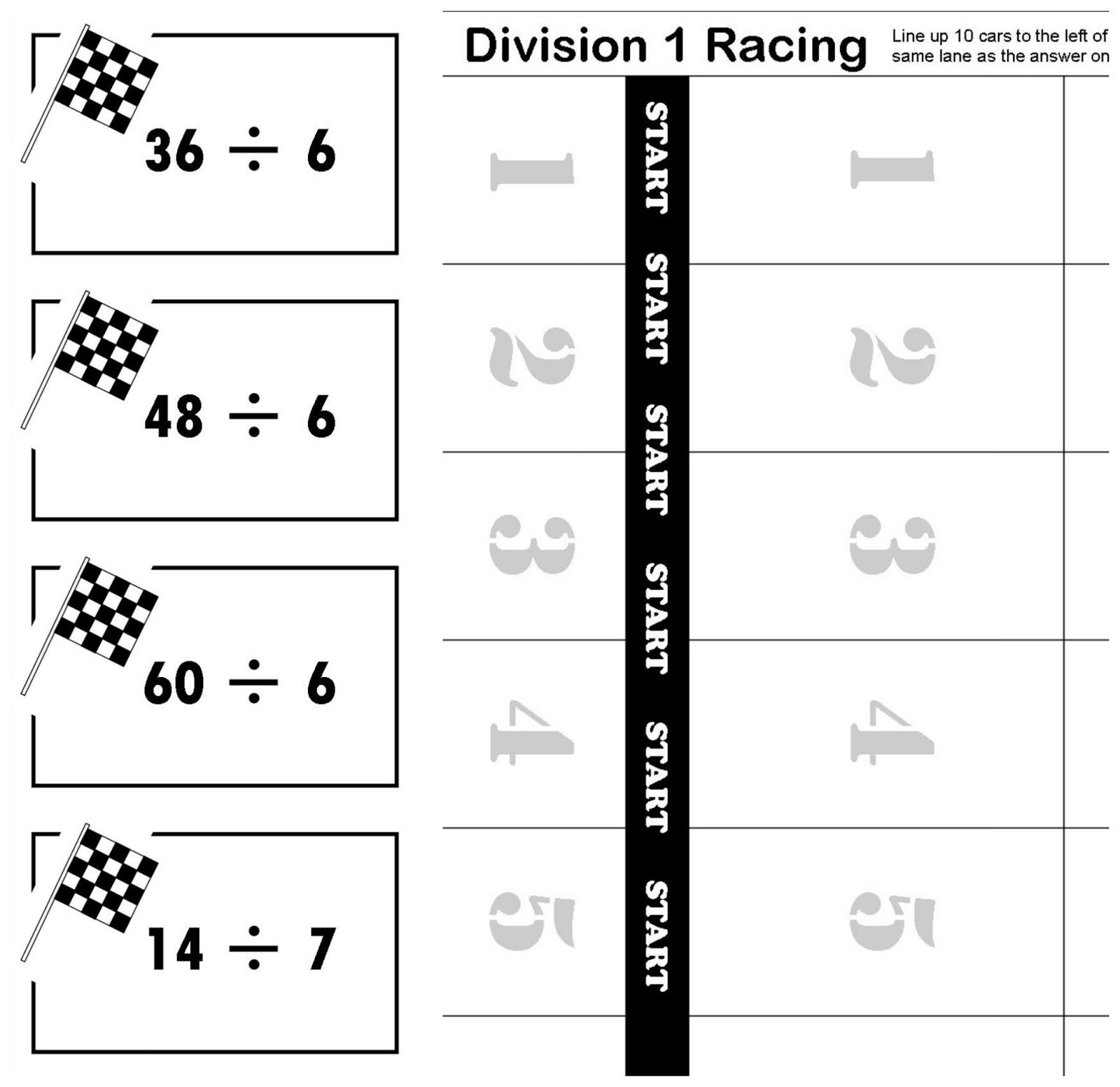 worksheet Division Flash Cards Printable relentlessly fun deceptively educational division 1 racing printable math game