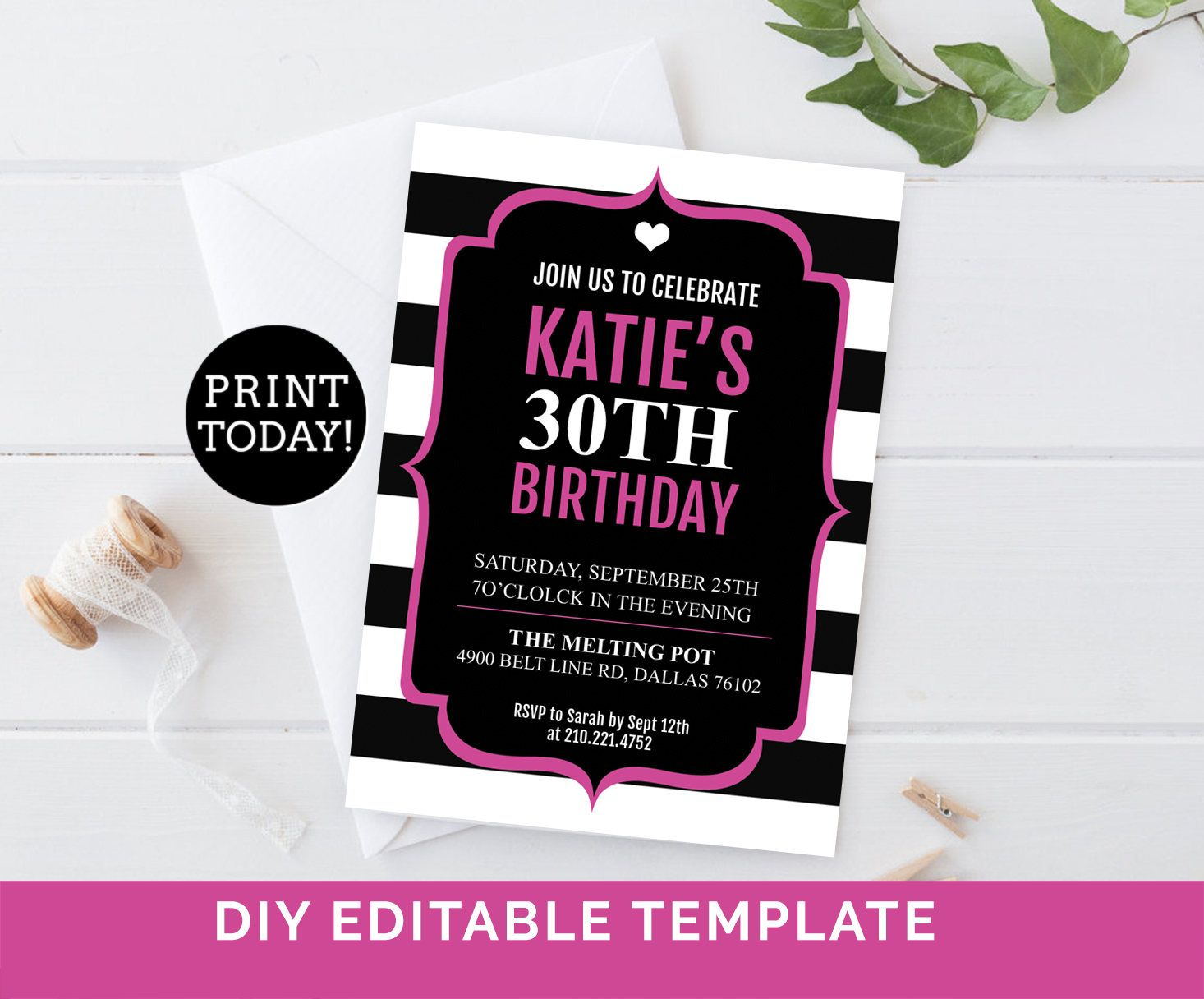 Kate 30th Birthday Invitation Template Adult Invites Stripe Hot Pink Party ANY EVENT Personalize Editable Printable By