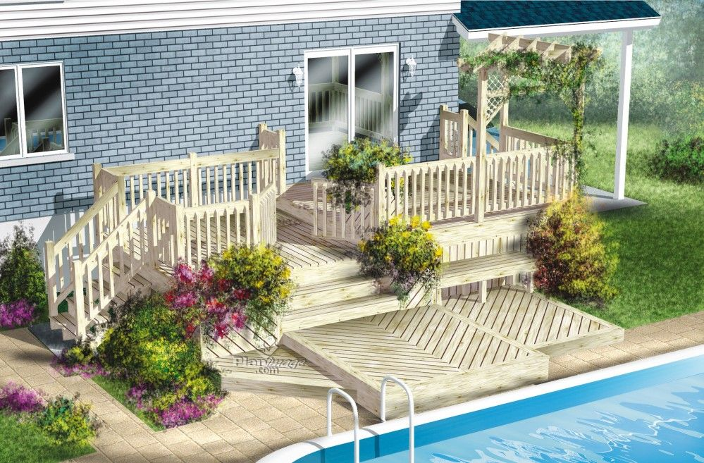 Cette terrasse en bois à multiples niveaux présente plusieurs ...