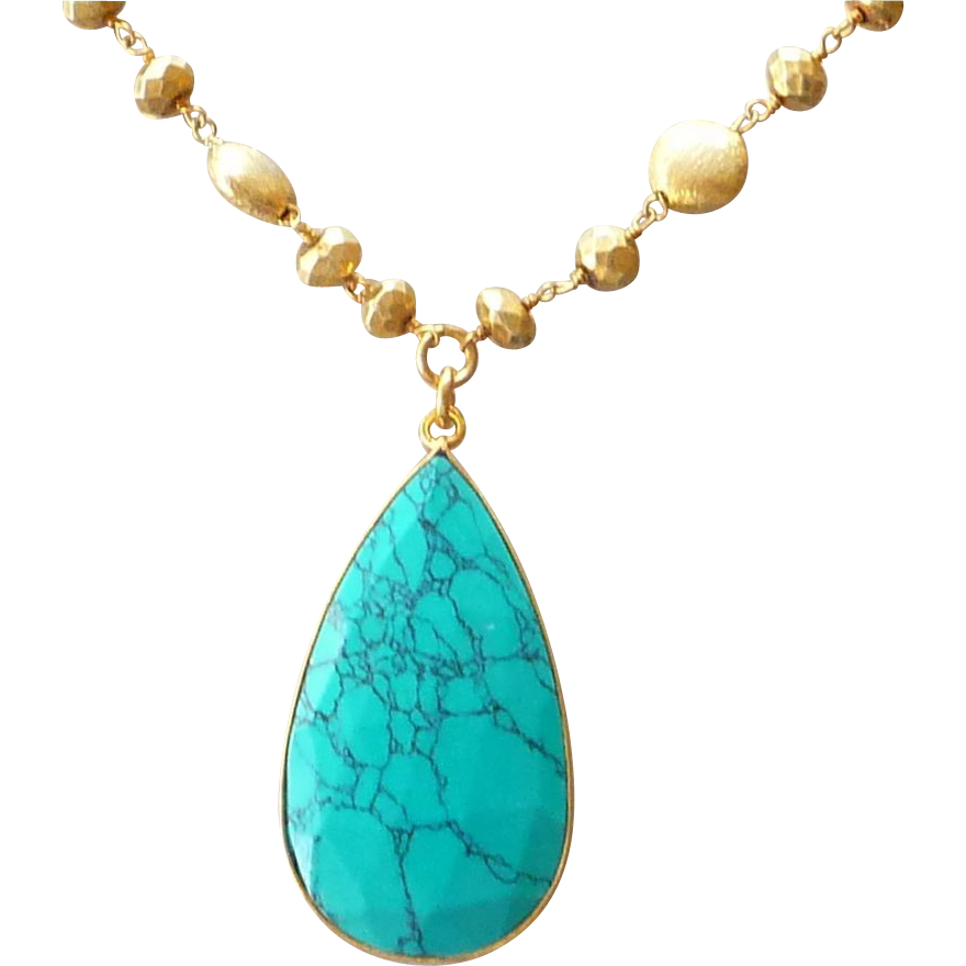 Turquoise and Gold Pyrite Necklace Wow them with this bold and beautiful gold pyrite.These beads have a antique gold metallic luster, excellent polish, symmetrical shapes, excellent faceting style, exhibiting an opaque body with beautiful metallic luster of Pyrite. Ideal for the personalities who are unafraid of making bold, hip statements with their accessory choices.