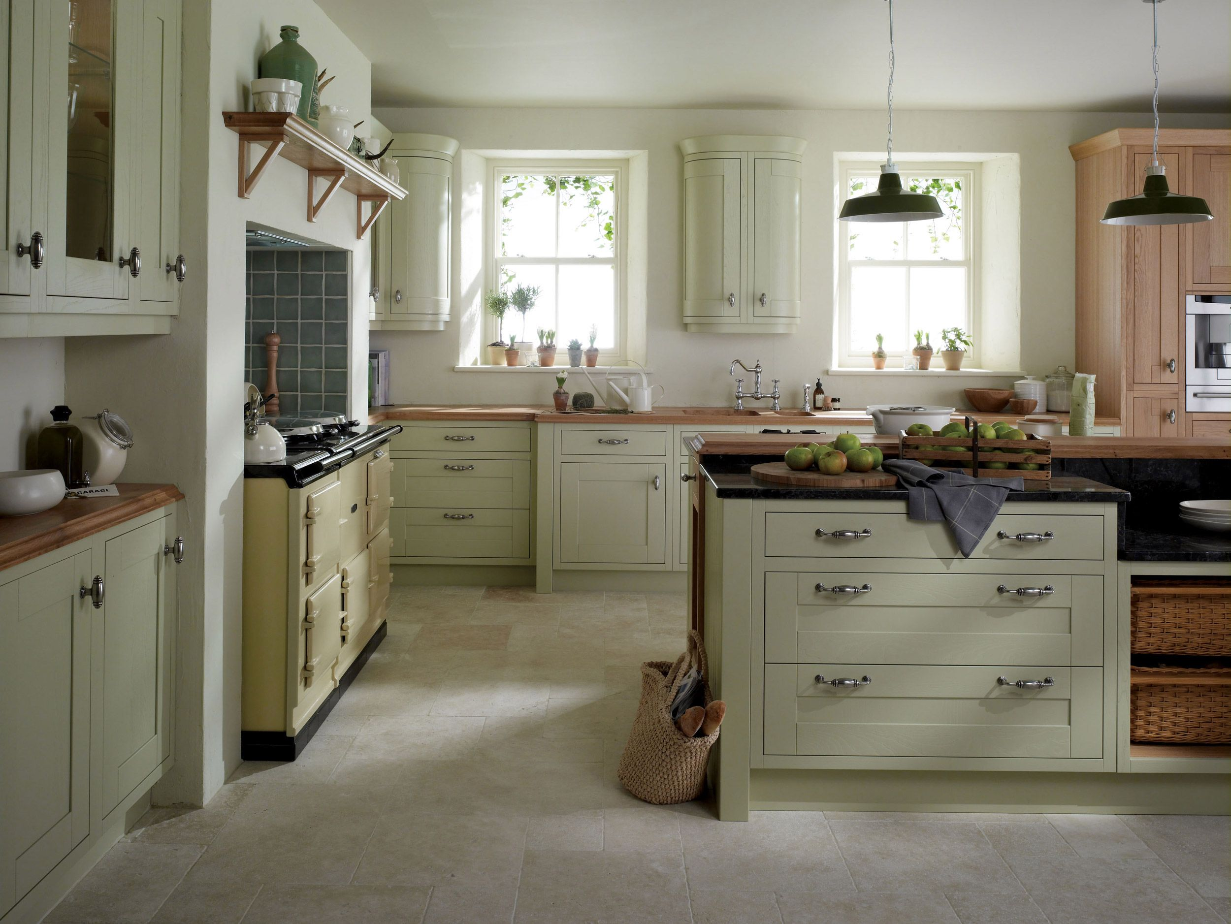 Admirable Country Kitchen Design With Wooden Countertop And Wooden