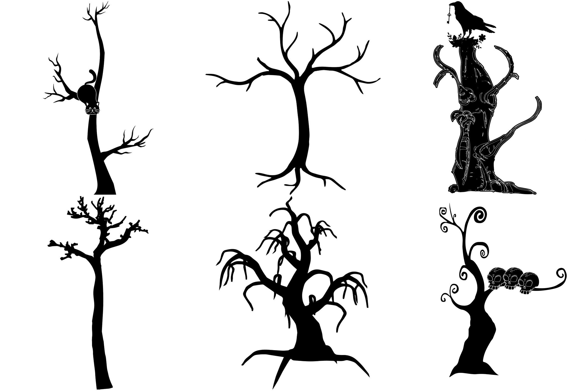 Halloween Bare Trees Ai Eps Png Bare Tree Spooky Trees Transparent Background