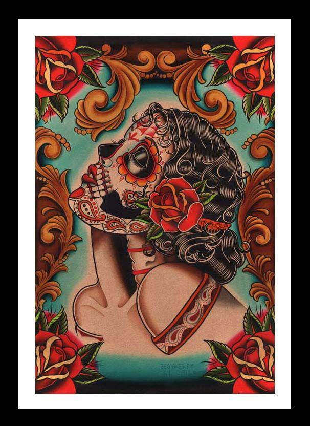 fine art sugar skull | Muerta by Lil Chris Fine Art Print Sugar Skull Mexican Latino Tattoo ...