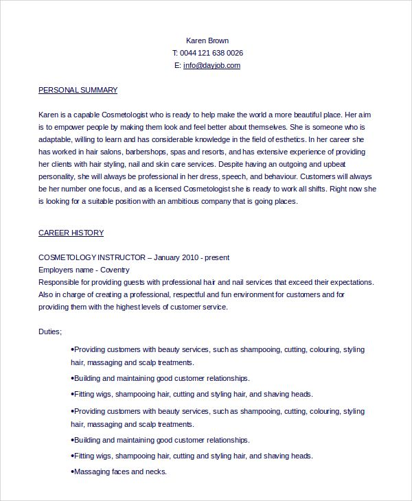 Sample Cosmetology Resume. Best 25+ Resume Career Objective Ideas
