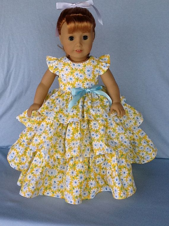 18 inch doll dress. Fits American Girl Dolls. Retro ruffled dress ...