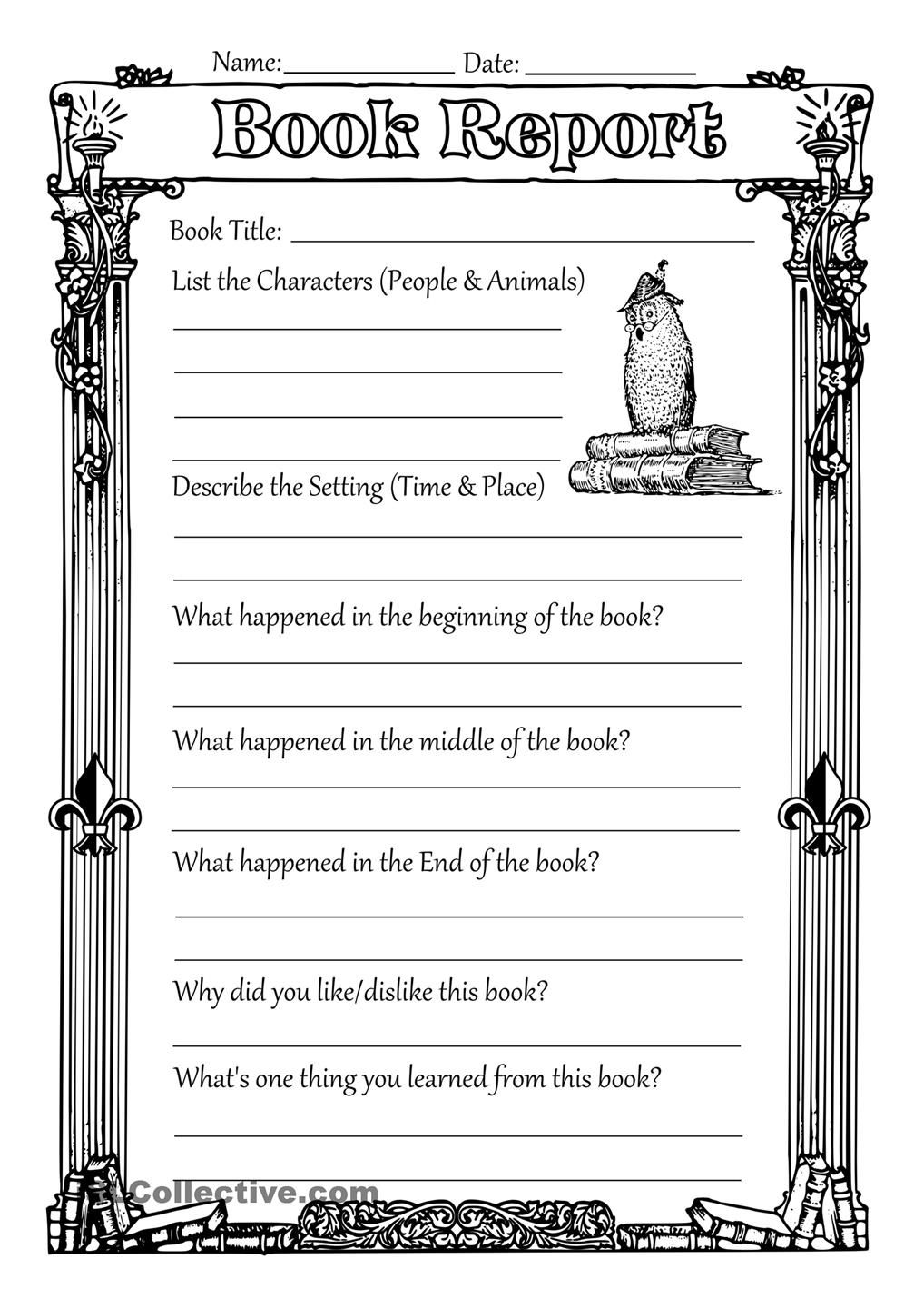 Book Reports Four Book Report Books Printable Worksheets