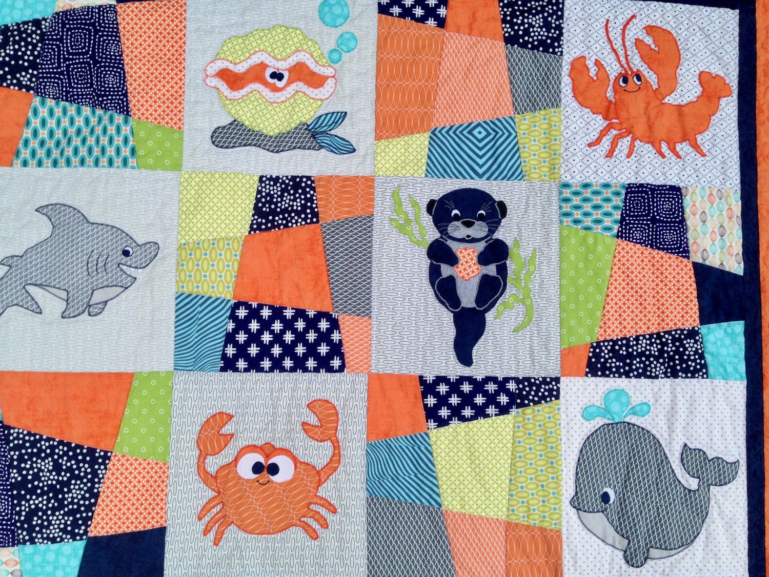 Pdf ocean friends applique quilt pattern pdf baby quilts