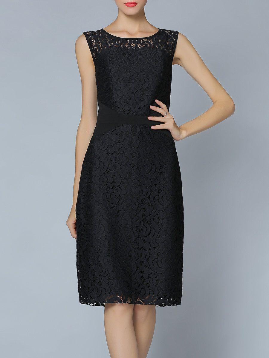 Sleeveless Crew Neck Lace H-line Work Midi Dress - AdoreWe.com ...
