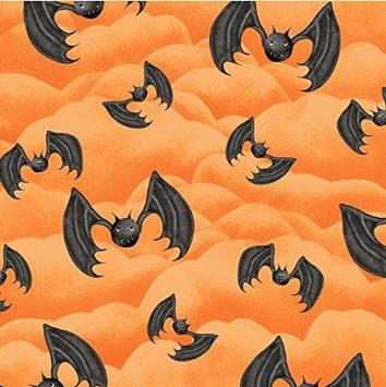 HALLOWEEN FABRIC BATS Happy Haunting Henry Glass Jeepers Creepers Pumpkins Yard