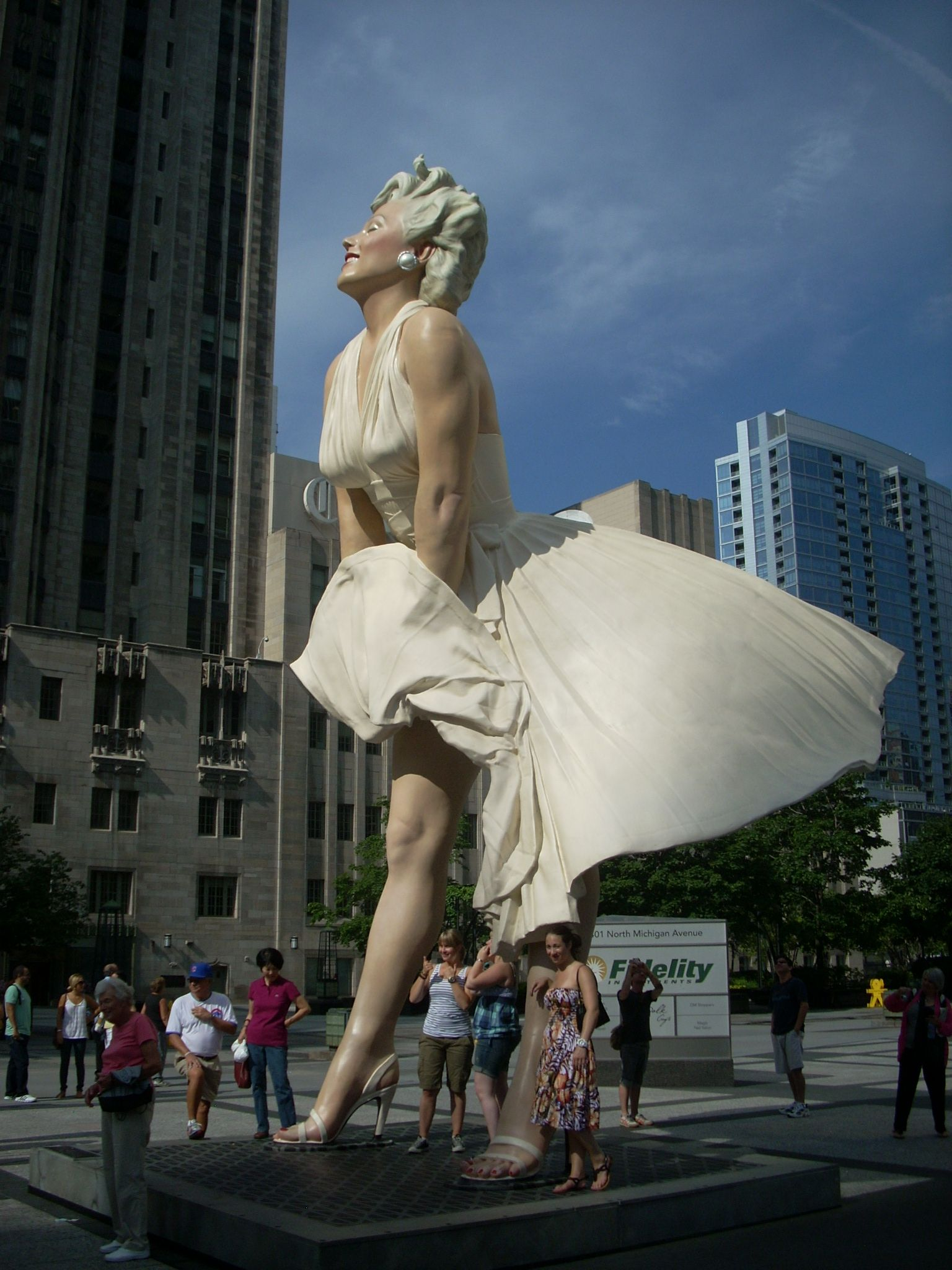 26 foot statue of Marilyn Monroe in Chicago.