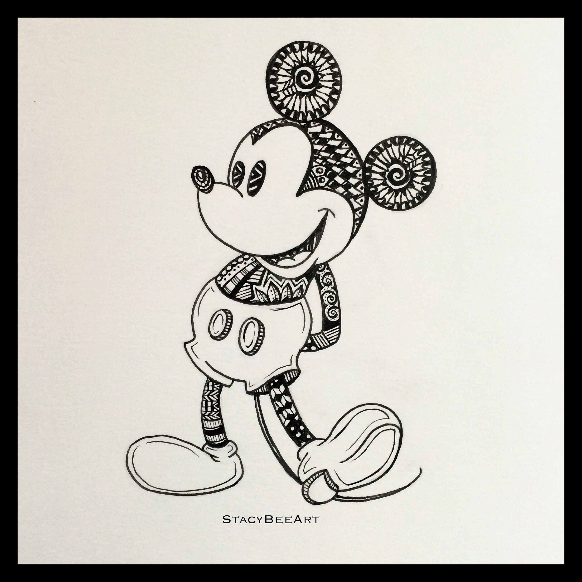 Mickey Mouse Zentangle Artwork By Stacy Bee Art